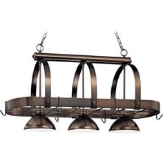 Volume Lighting 3-Light Antique Bronze Pot Rack Pendant-V3023-79 - The Home Depot