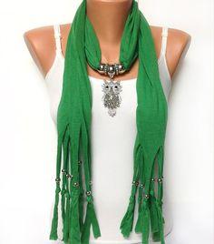 green owl jewelry scarf