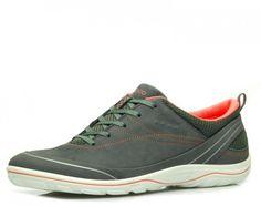 Wellness pur! Sneaker supersoft und federleicht, tolle Passform in modischem Design. Textilfutter, Wechselfußbett, auftrittsdämfpfende PU Laufsohle, Absatzhöhe: ca. 2,0 cm, Obermaterial: Nubukleder/ Textil, Farbe: dark shadow/ coral   http://www.belvero.de/ecco-836503-58925-arizona-sneaker-grau