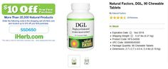 Natural Factors, DGL, 90 Chewable Tablets   http://iherb.com/Natural-Factors-DGL-90-Chewable-Tablets/2626