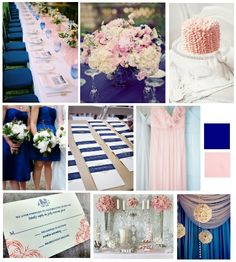 cobalt blue and blush pink wedding inspiration board