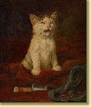 Louis Eugène Lambert (1825-1900) École français Huile sur toile marouflée sur panneau: Chaton.Signée et datée: L. Eug. Lambert 1876. Dimensions : 34 x 26 private collection