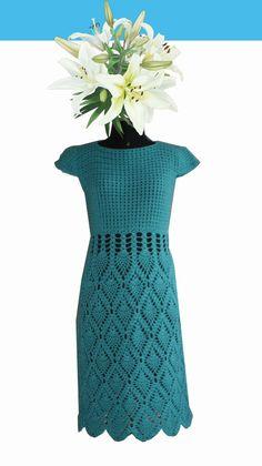 muçambê artesanato: Vestido Crochê Safira da Flor do Mussambê