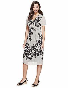 Multi Floral & Contrast Print Midi Dress