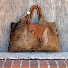 Stacy Leigh - Cowhide Tote Bag in Hair On Brown Brindle Leather