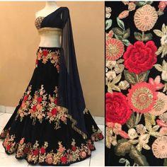 This set including floral motif resham embroidered lehenga choli set with matching dupatta set. Indian Lehenga, Lehenga Choli, Lehenga Blouse, Indian Designer Outfits, Designer Dresses, Ethnic Fashion, Indian Fashion, Women's Fashion, Indian Dresses