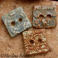 HANDMADE SQUARE BUTTONS - 3 Square Ceramic Two Hole Buttons - Havana Beads - $15.00