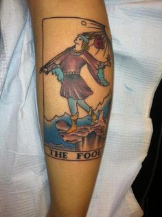 The fool tarot cardA symbol of the beginning of a journey, childishness, carelessness, and traveling with everything you need on your back.Done in Albuquerque New Mexico at Star tattoo by Gina Scarkino