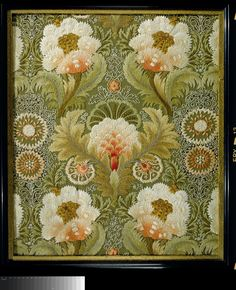 Silk Embroidery with Flowers and Leaves, Leek Embroidery Society (attributed to), 1885 - 1895