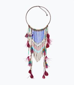 ZARA - SALE - LONG ETHNIC FEATHER NECKLACE