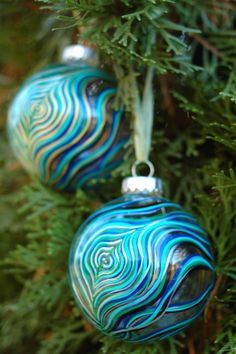 Peacock Feather Glass Ornament by Mary Elizabeth Arts