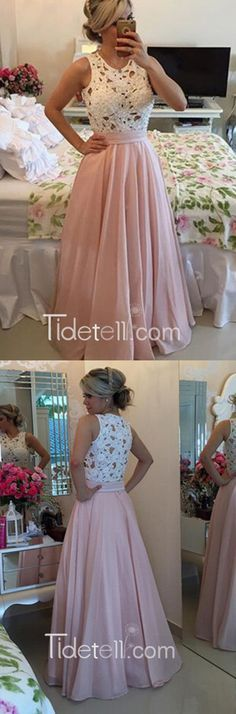 2016 princess long pink prom dress with white lace top, ball gown, evening dress