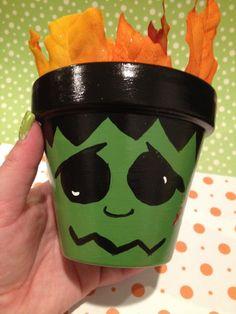 Cute Frankenstein Painted Pot - Halloween. $11.00, via Etsy.