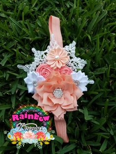 Coral and white headband vintage style.