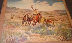 R Farrington Elwell COWBOY RANGLING STEERS Old American West Litho by SquarenutsShop on Etsy
