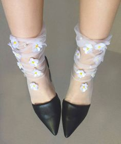 Daisy Tulle Socks Source by madsashleyy Sparkly Tights, Nylon Stockings, Ankle Socks, Sock Shoes, Hosiery, Daisy, Spandex, Leggings, Trending Outfits