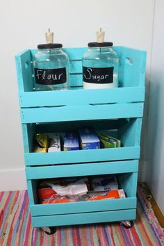 How to add more storage to a small kitchen DIY DIY Small Kitchen Storage Cart with .How to add more storage space to a small kitchen DIY DIY Small kitchen storage cart with . Craft Storage Cart, Kitchen Storage Cart, Small Bathroom Storage, Crate Storage, Small Storage, Wood Storage, Diy Storage, Wooden Crate Kitchen Storage, Kitchen Cart