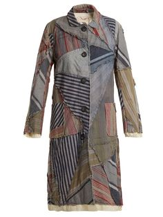 By Walid - Lori Century Print Linen Coat - Womens - Blue Multi By Walid, Denim Trench Coat, Roll Neck Top, Recycled Fashion, Recycled Clothing, Denim Patchwork, Printed Linen, Couture, Wide Leg Trousers