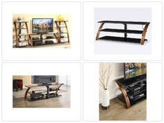 """Brown Cherry 3-Shelf Tabletop Console for TVs up to 70"""" Entertainment Media New"""