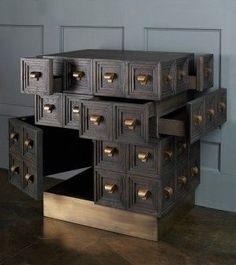 Multi-drawer, 40 brass handles, sandblasted and ebonized oak 33 Art Furniture, Dream Furniture, Cabinet Furniture, Contemporary Furniture, Furniture Design, Cabinet Design, Modern Interior Design, Armoire, Designer
