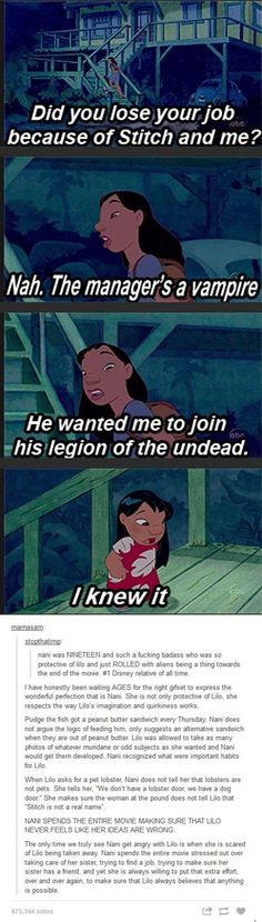 Ohana means family, family means nobody gets left behind. Why Nani is the best Disney character EVER. Another reason Lilo & Stitch has always been on of my favorites Disney Pixar, Disney Amor, Disney Memes, Disney Quotes, Disney And Dreamworks, Disney Love, Disney Magic, Funny Disney, Disney Stuff