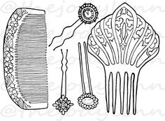 Museum Drawer: Hair Combs & Pins 2. Instant Download Digital Stamp Bundle. Line Art Illustration for Cards and Crafts Hair Combs, Digital Stamps, Line Art, Drawers, Illustration Art, Museum, Cards, Etsy, Digi Stamps