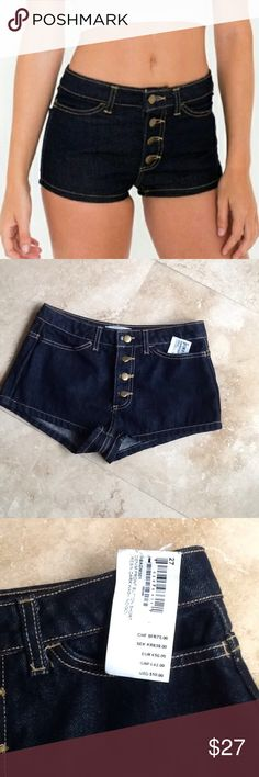 American Apparel Denim Front Button Shorts NWT NWT button up denim shorts. Waist is 29. Rise is 9 1/2. Price is firm. They are NEW!!!!! American Apparel Shorts Jean Shorts