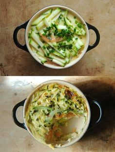 Zucchini smoked salmon crustless quiche, the recipe is in French but  I think I can figure it out.