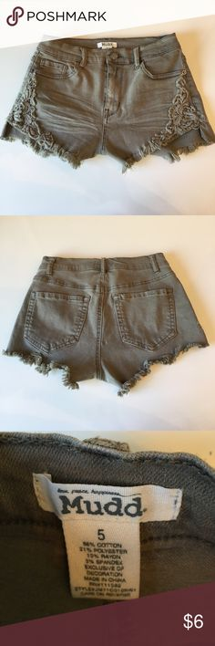 Cute olive jean shorts. (New) Never worn these. Mudd Shorts Jean Shorts