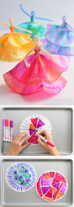 How to Make Coffee Filter Dancers How to Make Coffee Filter Dancers,Kids Crafts A safe place to play and learn. As educators we know children learn best through a play based approach. Fun Crafts For Kids, Summer Crafts, Toddler Crafts, Crafts To Do, Diy For Kids, Wood Crafts, Children Crafts, Kids Craft Projects, Summer Diy