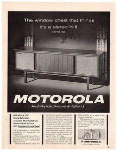 Vintage 1963 Motorola Console Stereo Magazine Print Ad 1960s Electronics Advertising