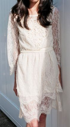 Lace dress (reminds me of my mom's wedding dress)