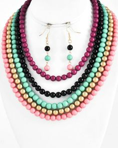 Gold Tone / Multi Color Acrylic / Lead&nickel Compliant / Multi Row / Necklace & Fish Hook Earring Set