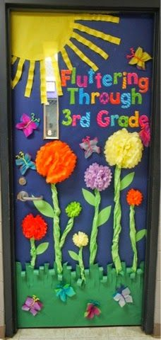 Classroom door displays classroom decor fun and easy spring door idea use pom poms for the Classroom Crafts, Classroom Door, Classroom Themes, Preschool Door, Spring Bulletin Boards, Butterfly Bulletin Board, Butterfly Classroom Theme, Teacher Doors, School Doors