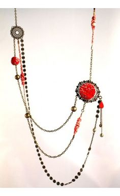 sautoir fantaisie en cramique et tissu couleur rouge httpeva arlettaz - Sautoir Fantaisie Color