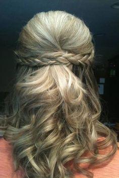 Braided Half Up Hairstyle! #thickhair #hairdo #wedding #bridesmaid - see more hairdos at bellashoot.com!