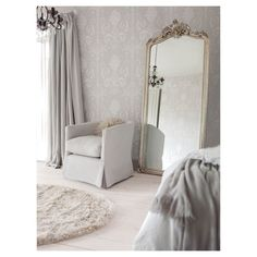 Laura Ashley Wallpaper Josette White Dove Grey 10m