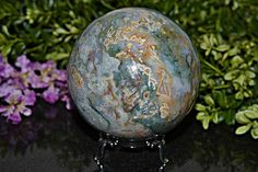 Natual Moss Agate Sphere 90 MM Moss Agate Sphere