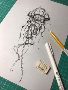 Psdelux Henk - List of the most beautiful tattoo models Jellyfish Drawing, Watercolor Jellyfish, Jellyfish Painting, Jellyfish Tattoo, Tattoo Watercolor, Cool Sketches, Cool Drawings, Drawing Sketches, Tattoo Drawings