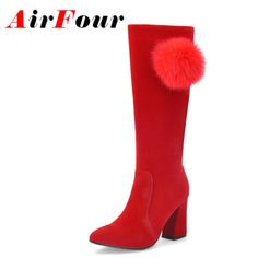 46.12$  Watch here  - Airfour Zippers High Heels Round Toe Fur Ball Charms Shoes Woman Size 34-39 Mid-calf Boots Sexy Red Platform Shoes Short Boots