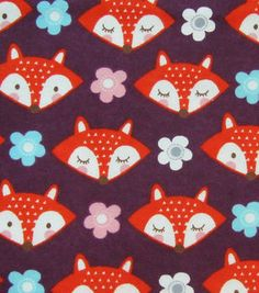 Snuggle Flannel Fabric Fox Faces