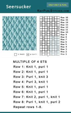 How to knit the Seersucker stitch. Pattern includes written instructions and chart How to knit the Seersucker stitch. Pattern includes written instructions and chart Seersucker stitch is easy, jus Child Knitting Patterns The right way to knit the Seersuck Knitting Stiches, Knitting Charts, Baby Knitting Patterns, Knitting Designs, Knitting Needles, Free Knitting, Knitting Projects, Crochet Stitches, Scarf Crochet