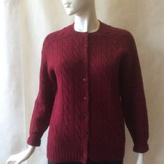 Classic maroon wool cable knit cardigan, designed in Scotland for Madrigal of Carmel, long sleeve, women's large / size 12 - 16 by afterglowvintage on Etsy