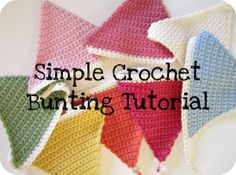 Simple Crochet Bunting The only stitches you need to know are:- ch - chain dc - double crochet (single crochet in US) I'm using a 4mm hook and double knit weight yarn. *** Row 1. First, chain 2. ༺✿Teresa Restegui http://www.pinterest.com/teretegui/✿༻