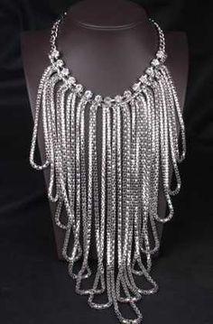 DesignzByMsJ...RESTOCK Ladies...SPARKLES silver tassel necklace with rhinestones statement necklace $25. Order @ designzbymsj.storenvy.com