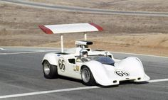 Jim Hall drives the Chapparal in the Can-Am Challenge Cup in Riverside, Calif., in 1968  Photo by LAT PHOTOGRAPHIC.
