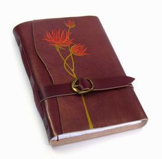 """Burgundy Genuine Leather Notebook - """"Red Bouquet"""""""