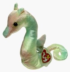 Ty Beanie Baby Neon the Ty-dye Seahorse Features : Born on April of shiny, short-nap, tie-dyed velvet*two small horns on her head, a fin on her back, and a tail that can roll and unroll*Surface wash only Product dimensions : L: x W: Beanie Babies Value, Rare Beanie Babies, Beenie Babies, Ty Stuffed Animals, Baby Animals, Dinosaur Stuffed Animal, Stuffed Toys, Plush Animals, Pet Toys