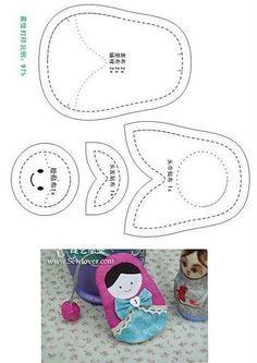 ARTE COM QUIANE - Paps,Moldes,E.V.A,Feltro,Costuras,Fofuchas 3D: Molde Matrioska de tecido ou feltro