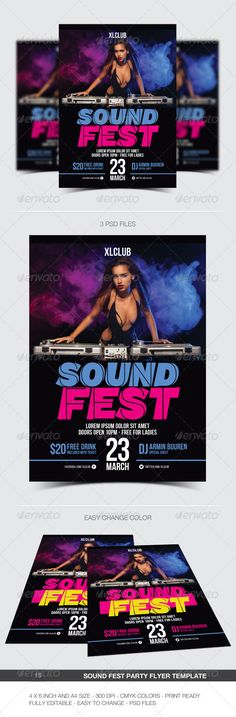Sound Fest Party Flyer / Poster - 15 #a4 #blue #club #concert #dance #disco #dj #electro #electronic #event #fest #festival #flyer #green #minimal #modern #music #night #nightclub #party #pink #poster #print #sound #yellow